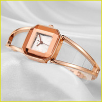 Wholesale Rose Jewelry Case - Watches for Women Metal Bracelets Alloy case Stainless Steel Quartz Movement Rose Gold Watch Mineral Glass