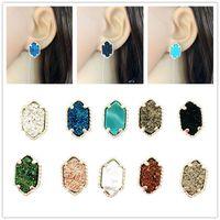 Wholesale Yellow Stone Stud Earrings - Trendy oval Druzy stud earrings Silver Filled Drusy Geometry Stone earrings Best for Lady Various Colors CHOOSE