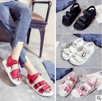 Wholesale Thick Fashion Ropes - Free Shipping Fashion New Zapatos Mujer The Rope Magic Paste Roman Thick Sandals Chaussures Femme Students Flat Shoes