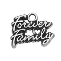 Wholesale Jewelry Charms Words - Engraved Words Forever Family Antique Silver Plated Word Hot Sell Charm Engraved Accessory Pendant For Bracelet & Necklace Fashion Jewelry