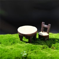 Wholesale Desk Resin Craft - New 2Pcs 1 Set Desk Chair DIY Resin Fairy Garden Craft Decoration Miniature Micro Gnome Home Garden Decoration