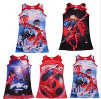 Wholesale Girl Pajamas Bow - Newly Girls Dresses 5 Styles Miraculous Ladybug Vest Bow Dresses Children Sleeveless Nightgown Pajamas Kids Clothes