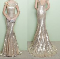 Wholesale Sequin Sleeves Evening Dress - Cheap Sequins Mermaid Evening Dresses 2017 Scoop Short Sleeves Appliques Long Train Plus Size Prom Gowns