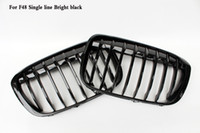 Wholesale 16up New Single line Coloer Bright black Front Kidney Grille Fit For BMW X1 F48