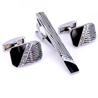 Wholesale Shirt Tie Cufflink Gift Set - C-MAN Stainless Steel Leopard Print Crystal Cufflinks and Tie Clip Clasp Bar Set Brand Gift For Men French Shirt High Quality