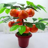 plantación de manzano al por mayor-Decoración del hogar Fruta Naranja Manzana Árbol de limón Emular Bonsái Simulación Decorativa Flores artificiales Plantas de maceta verde Adornos