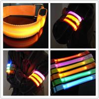 Wholesale Led Safety Arm Strap - LED Cycling Running Light Shine Flash Glowing Armband Arm Belt Band Hand Strap Wristband Wrist Band Safety Reflective For Sports Night