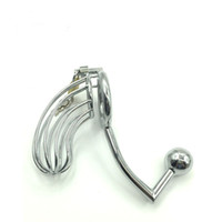 Wholesale male anal bdsm for sale - Group buy New Medium Male Stainless Steel Cock Penis Cage Catheter With Anal Hook Anus Plug Butt Beads Chastity Belt Device BDSM Sex Toy