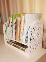 Wholesale Creative wood plastic plate hollow out carved waterproof texture small bookshelf environmental protection Storage Holders Racks
