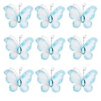 Wholesale glitter butterflies decorations - 50pcs Blue Wired Mesh Stocking Glitter Butterflies with Gem wire mesh glitter butterflies