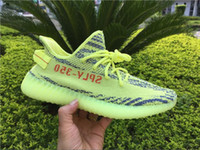 Wholesale Mens Shoe Laces Wholesale - Boost 350 V2 Kanye West B37572 Semi Frozen Yellow Mens Womens Fluorescent Green Sneakers Zebra CP9654 Running Shoes With Box
