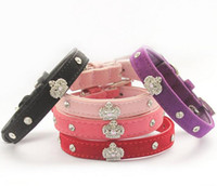 Wholesale Leather Dog Collars Crowns - Armi store Rhinestone Crown Charm Decoration Pet Dog Cat Collar Princess Collars For Dogs 6041024 Puppy Leashes Supplies G485