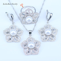 Wholesale Peacock Pearl Necklace Bracelet - 2017 Fashion Flower White Simulated-Pearl White CZ Pendant Necklace Earrings 925 Sterling Silver Jewelry Sets For Women