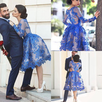 Wholesale Scoop Neck Knee Length - 2017 Royal Blue Short Homecoming Dresses Long Sleeves Lace A Line Cocktail Party Gowns Illusion Back Knee Length Prom Dresses BO9853