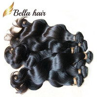 jungfräuliches menschliches haar zum weben großhandel-Bella Hair® Brazilian Hair Extensions Färbbare natürliche peruanische malaysische indische Jungfrau-Haar-Bündel-Körper-Wellen-Menschenhaar-Webart julienchina
