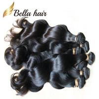 doğal insan örgüsü toptan satış-Bella Hair® Brezilyalı Saç Uzantıları Boyanabilir Doğal Perulu Malezya Hint Bakire Saç Demetleri Vücut Dalga İnsan Saç Dokuma julienchina