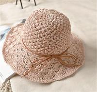 Wholesale Wide Brim Hats For Girls - 2017 New Summer Mother And Kids Straw Hats Fedora Hat Children Visor Beach Sun Baby Girls Sunhat Wide Brim Floppy Panama For Girl