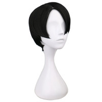 Wholesale Rivaille Wig - cosplay levi QQXCAIW Short Straight Cosplay Levi   Rivaille Black 30 Cm Synthetic Hair Wigs