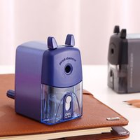 Wholesale Deli Pencil Sharpener - Wholesale- 1 pc pencil sharpeners basic type for office hand crank pencil cutting machine Deli 0635 2 colors blue and black