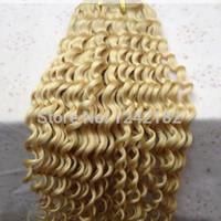 Wholesale blonde brazilian curly hair weaving - JUFA Human Hair #613 bleach blonde grade unprocessed virgin mongolian kinky curly hair 100g pc human hair weave bundles wholesale