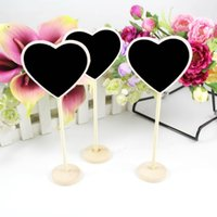 Wholesale Blackboard Chalk Holder - Table Number Wedding Gift 10 pcs lot Heart Mini Wooden Wood Chalkboard Blackboard on stick Place holder Chalkboard Set With Colorful Chalk