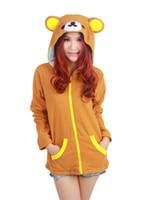 Wholesale Rilakkuma Fleece - HappyBuy Rilakkuma Brown Bear Adult Unisex Costumes Side Pockets Hoodie Zip Closure Animal Costume Hooded jacket Kigurumi Cardigan Hoodies