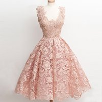 Wholesale Cheap Short Sweet 16 Dresses - Blush Pink Lace Coral Homecoming Dresses 2017 Vintage 1950's Tea Length Short Prom Dress Cheap A-line Sweet 16 Junior Graduation Party Dress