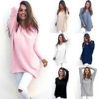 Wholesale Kimono Sweater Dress - Fashion Autumn Winter Dress Womens V-Neck Loose Knitted Over sized Baggy Sweater Jumper Tops Dress Outwear Plus Size S-XL Vestidos