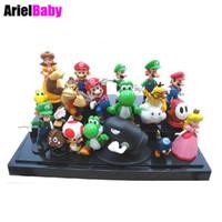 Wholesale Mario Bros Resins - New 18 PCS Super Mario Bros Yoshi Dinosaur Peach Toad Goomba 3.5-5.5cm PVC Action Figures Doll Kids Toys Free Tracking