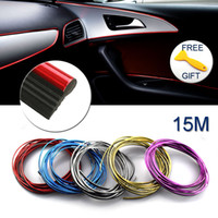 Wholesale car interior door - 15M Car Moulding Trim Strip Interior Decoration Thread Dashboard Sticker Decals Door Air Outlet Auto Accessories Car Styling