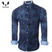 Wholesale Tie Dye Long Shirt - Wholesale- Men Shirt Luxury Brand 2016 Male Long Sleeve Shirts Casual Printing Tie-Dye Slim Fit Dress Shirts Mens Hawaiian Camisa Masculina