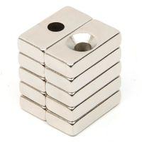 блок постоянного магнита n52 оптовых-Оптовая торговля-10 шт. отверстие блок редкоземельный неодимовый магнит прямоугольный Магнит сильный блок кубовидные постоянные неодимовые магниты Магнит N52