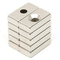 neodym n52 block großhandel-Großhandels-10pcs Loch Block Rare Earth Neodym Magnet Rechteckigen Magnet Starke Block Cuboid Permanent Neodym Magneten Magnet N52