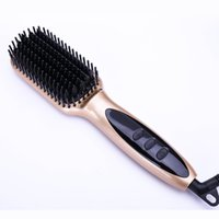 Wholesale Tech 21 Wholesale - Fast Heating Electric Massage Straight comb LCD anti-hot hair straightener brush comb corrugation Professional LCD Display high tech hair