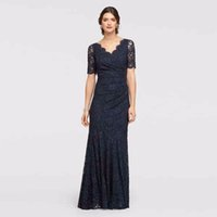 Wholesale Scallop Neck - Allover Lace Elbow Sleeved Dress with Scallop Trim 183130 Black Sexy Mother of the Bridal Dres Wedding Party Dress Formal Dresses