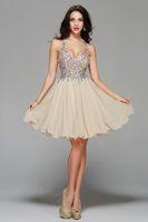 Wholesale Short Heavy Beaded Dresses - 2017 New Fashion Ivory V Neck Short A-line Heavy Major Crystal Beaded Cocktail Dress Custom Made Plus Size Homecoming Dresses