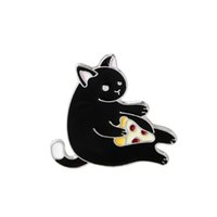 Wholesale Enamel Hat - Wholesale- Hot Trendy Jacket Jeans Hat Bag Cartoon Enamel Brooch Pins Fashion Alloy Black Greedy Fat Cat eat Pizza Brooch Badge