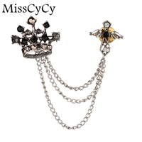 Vente en gros - MissCyCy Silver Plated Crystal Crown Cross Broches Collar Clip Long Tassel Chain Broche Noble Broche pour Hommes Bijouterie Femme