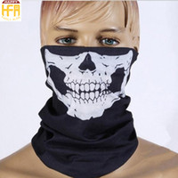 Wholesale Horror Halloween Decorations - Hot Sale Face Mask Skeleton Halloween Mask Seamless Multi Function Warm Neck Headband Masks Halloween Party Decoration 7 Colors