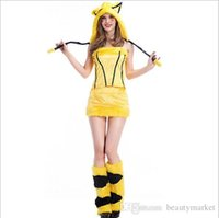 Wholesale Pikachu Adult Costume - New Christmas Women Cute Yellow Pikachu Costume For Halloween Adult Animal Fantasia Sexy Queen Fancy Dress PSY1235