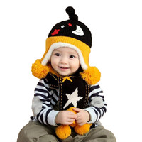 Wholesale Kids Hat Patterns Knit - Unisex Children Moon Beanies Bobble Hat Set New Kids Knit Cap and Star Pattern Scarf Warm Suit Set MZ4176 Free Shipping