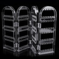 Transparent Multifonctionnel Plastique Écran pliant Boucles d'oreilles Bijoux Affichage Stand Holder Rack Storage Box Jewelry