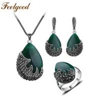 Wholesale Jade Bi - ewellery packaging Feelgood Trendy Jewellery Water Drop And Black Crystal Flame Shape Vintage Silver Color Turkish Jewelry Sets parure bi...