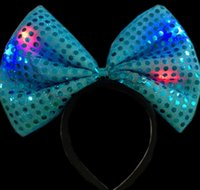 Wholesale Party Hawaii Dress - Sequins LED headband Light Up party hat luminous Flashing Blinking Party Favors Christmas Halloween club stage fancy dress props