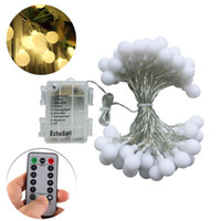 16 Feet 50 LED Outdoor Globe String Lights 8 Modes dimmable Batterie Froée White Ball Fairy Light for Christmas