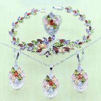 Wholesale Silver Multi Gem Necklace - Multi Gems 925 Sterling Silver Bridal Jewelry Set For Women Crystal Wedding Bracelet Necklace Earrings Ring J1013004