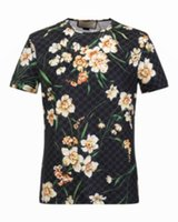 Wholesale Best Clothing For Men - 2017 Summer Mens Casual T Shirts Black Flower Print Brand Clothing For Man's Short Sleeve Slim T-Shirts Male Best Quality with tags M-3XL