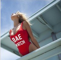 Wholesale Silver Costume Watches - BAE WATCH Swimsuit Bodysuit One Piece Swimwear Women Red Monokini Rompers Womens Jumpsuit Costume Sexy One Piece Swimsuit