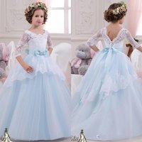 Wholesale Cheap Blue Red Tutu - 2016 Lovely Cheap Baby Princess Floor Length Flower Girl Dresses For Weddings Long Sleeves Lace Appliques Wedding Prom Birthday Tutu Dress