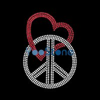 Para la venta Cupid Arrow And Peace Love Rhinestone Transfer Iron On Hot Fix Motif para camisetas